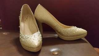 =極新= TAS 香檳金 水鑽 珍珠 高跟鞋 婚鞋 歐美日韓