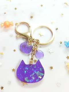 限量手作貓咪鑰匙圈   手作  飾品  水晶膠