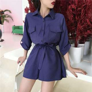 Buttoned Down Collar Romper