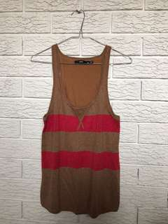 Brown and glitter red striped knit singlet
