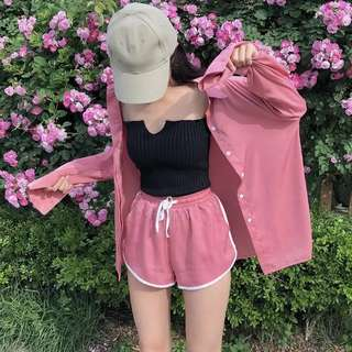 Selling whole set !! 😍 Black Top RM25 Pink Shorts RM32 Pink Outerwear RM42