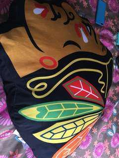 Black hawks pillow