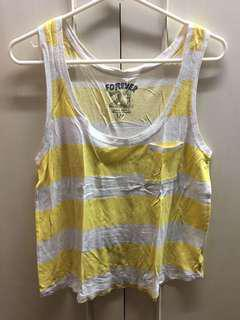 F21 yellow and white top