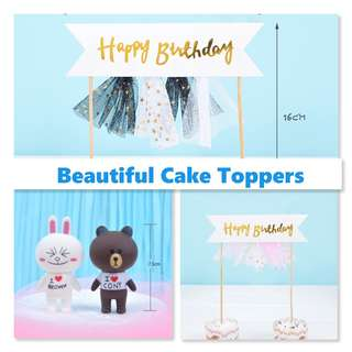 Beautiful Pompom Design Happy Birthday Cake Topper