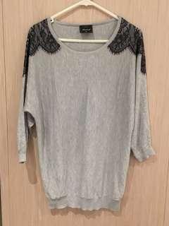 Grey lace designed knit