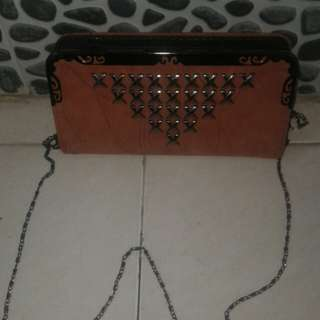 Clutch pu leather silang cantik new