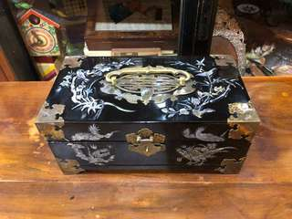 Vintage black lacquer Mother of pearl inlaid jewellery box