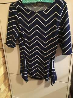 Temt zigzag blue and white 3/4 sleeve top small