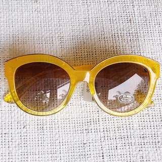Brand New Anthropologie Yellow Acetate and Gold Metal Sunglasses