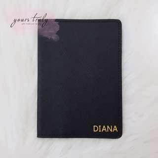Personalised Initial/Name Genuine Saffiano Leather Passport Cover [Customised]