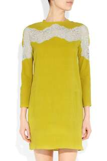 Carven yellow silk candy and lace dress 🌻
