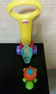 Fisher price elephant walker and Playgo turtle