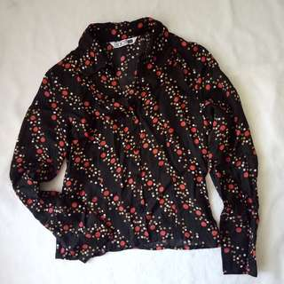 Dotted satin longsleeve