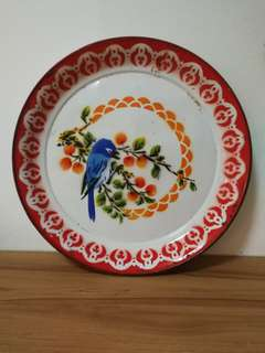 Vintage Large Enamel plate with gorgeous bird print