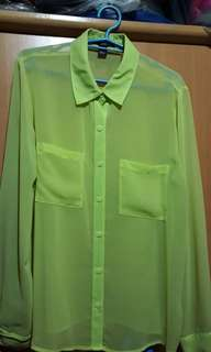 Forever 21 Neon Long Sleeves Sheer Top
