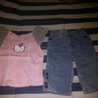 Hello Kitty Top & Guess Shorts