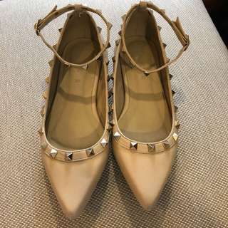 Valentino (Inspired) Beige Studded Flats by HUE MANILA