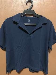 Navy Blue Uniqlo Cropped Polo Shirt (Medium)
