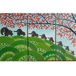 Handpainted Elephant Family on Large Canvas