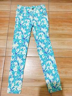 Cyan floral mid-rise jeans