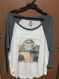 White and Gray Roxy Long Sleeves (large)