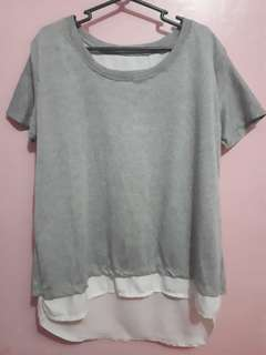 Plus Size Gray Blouse with Back Slit
