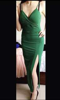 Bardot long green dress