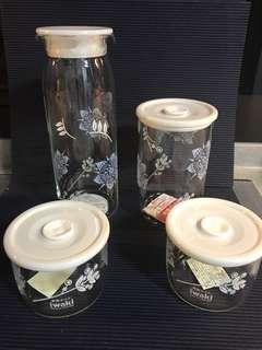 Awaki 4pc seal tight glass container (New!)