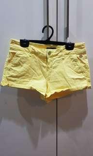 Stradivarius denim shorts in Yellow