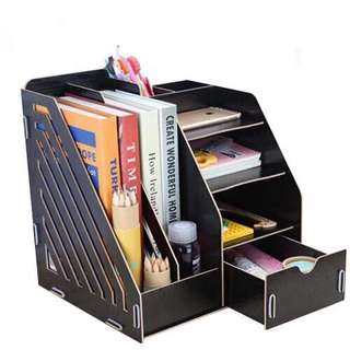 Office File Rack Desk Organizer with Drawer Study Room Book Shelf