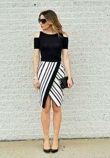 🐢Combined cold shoulder  Dress B/W