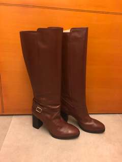 Authentic Tod's Brown high heel boots in genuine leather size 38