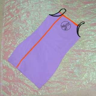 配色線條開衩造型細肩帶洋裝
