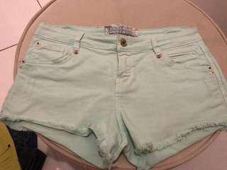 Bershka denim shorts mint green size 27-28 new