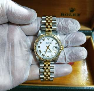 Authentic rolex boy half gold