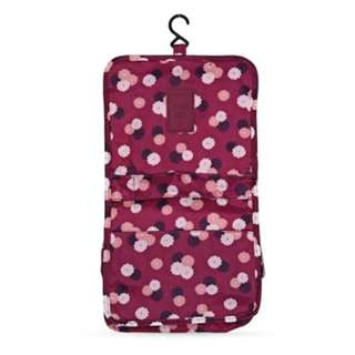 H-DWISS LARGE CAPACITY FLORAL PRINT MAKEUP STORAGE TOILET BAG (WINE RED)