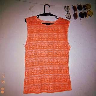 Neon orange muscle tees