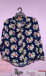 dark blue pink flower kemeja blouse
