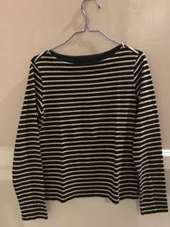 Uniqlo boatneck stripe longsleeve top Small used 2x
