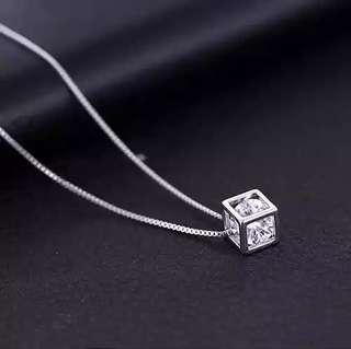 [C2088 • Magic Cube] s925純銀鍍白金水晶石吊墜頸鏈 Necklace