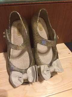 🚚 專櫃正品Mini Melissa金色童鞋