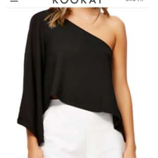 kookai millie one shoulder top black size 36