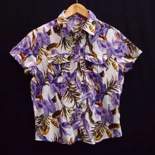 Kemeja Blouse Floral Tropical Purple Vintage