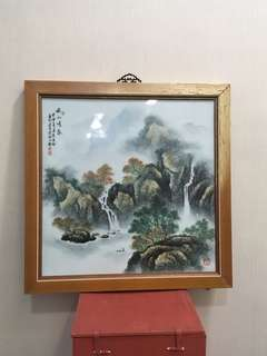 近代名家「袁慶玲」作品粉彩山水(有證書)