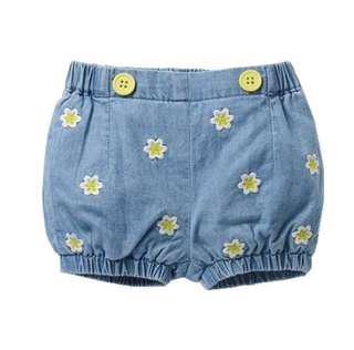 【BABYWEAR】【CLOTHING】【GIRL】PCB0001 BABY GIRL YELLOW FLOWER DENIM SHORTS