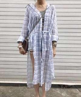 🚚 Amissa 清新格子長版襯衫