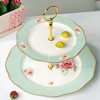 Luxury Rose Pattern High Tea Glassware, 英式盪金邊玫瑰花圖high tea 瓷碟架