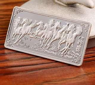 千足銀 999 銀磚銀塊 白銀銀條 10g 馬到成功 特別紀念珍藏 純銀 投資送禮佳宜 連原木制盒
