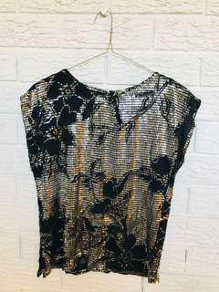 Textured silver black top
