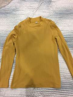 Mustard yellow turtle neck top